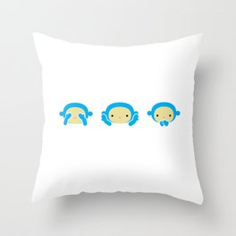 3 Wise Monkeys Throw Pillow