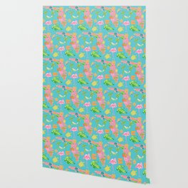 Florida map / flamingo pattern Wallpaper