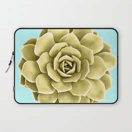Yellow Succulent Plant on Teal Laptop Sleeve