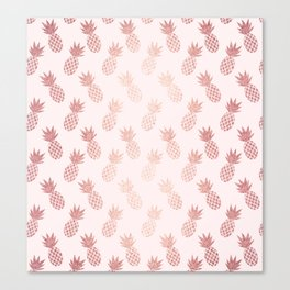 Rose Gold Pineapple Pattern Canvas Print