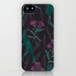 Linear Lily - Dark iPhone Case