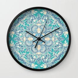 Gypsy Floral in Teal & Blue Wall Clock