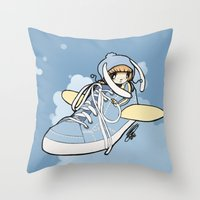 sneaker Throw Pillows featuring Sneaker ridin' by catamariii