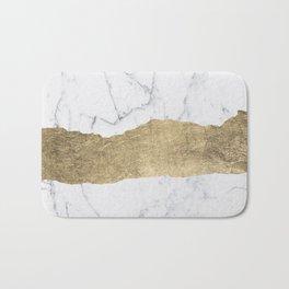 Elegant faux gold foil gray white modern marble Bath Mat