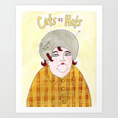 Cats as Hats - Lady in Plaid Art Print