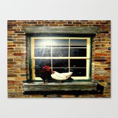 The rooster and a hen on a window Ledge Canvas Print