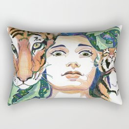 The Lady and the Tigers Rectangular Pillow