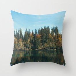 STILL LAKE IN THE FOREST Throw Pillow