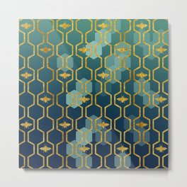 golden gometric bee pattern Metal Print