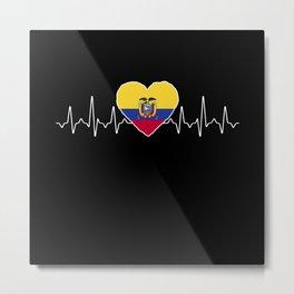Ecuador Heartbeat Flag Metal Print