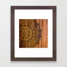 Mandala on wood Framed Art Print
