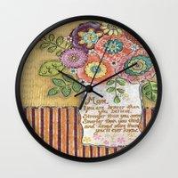 mom Wall Clocks featuring Mom by Jamie Morath Art
