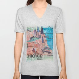 Chicago Illinois USA Illustrated Map with Main Roads Landmarks and Highlights Unisex V-Neck