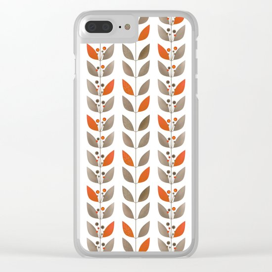 Retro pattern . Autumn leaves . Clear iPhone Case