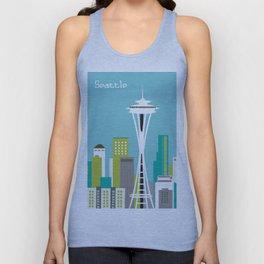 Seattle, Washington - Skyline Illustration by Loose Petals Unisex Tank Top