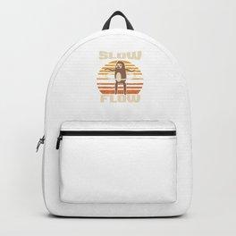 Slow Flow Retro Vintage Hula Hoop Hula Hooping Sloth Twirl Twirling Gymnastics Gymnasts Gift Backpack