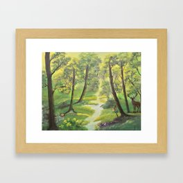 Happy forest with animals Framed Art Print