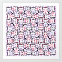 pastel goth Art Prints featuring Angelic Kitty (Pastel Goth) by display