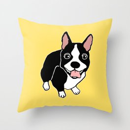 Happy Boston Terrier Throw Pillow