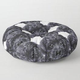Toy poodle Black Floor Pillow