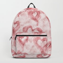 Pink Pastel Hearts on Watercolour Clouds Backpack
