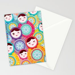 Russian dolls matryoshka, pink blue green colors colorful bright pattern Stationery Cards