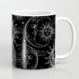Black Magic Celestial Sun Moon Stars Coffee Mug