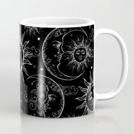 Black Magic Celestial Sun Moon Stars Coffee Mug