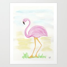 Winter Flamingo Art Print