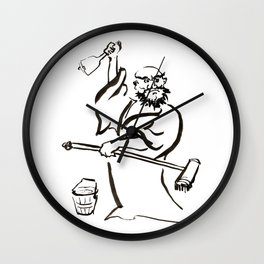 Cleaning Time! Bodhidharma! Wall Clock