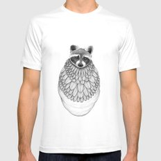 Raccoon- Feathered Mens Fitted Tee White MEDIUM