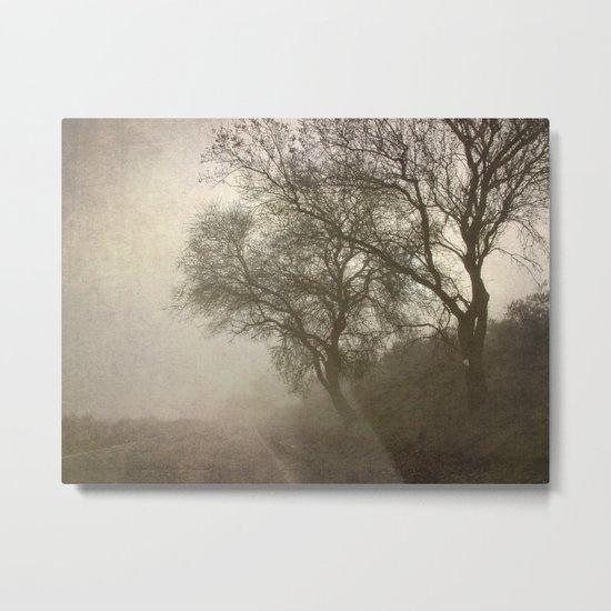 Vigilants Trees in the misty road Metal Print