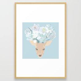 Deer Succulents Framed Art Print