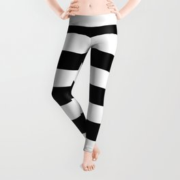 Black and White Medium Stripes Pattern Leggings