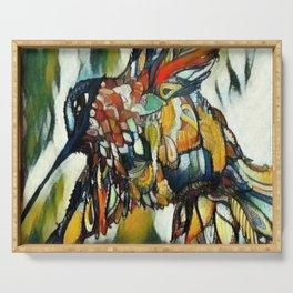 Dramatic Hummingbird in Flight, Colors of Autumn Serving Tray