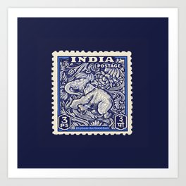 good luck indian elephant postage stamp Art Print