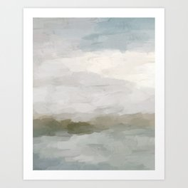 Gray Blue Sage Green Sunrise Abstract Nature Ocean Painting Art Print Wall Decor  Art Print