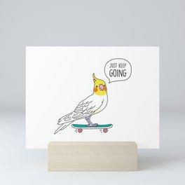 Skater Cockatiel - Just Keep Going Mini Art Print