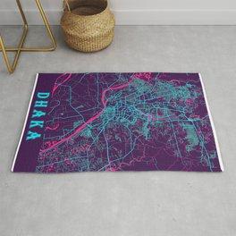 Dhaka Neon City Map, Dhaka Minimalist City Map Art Print Rug