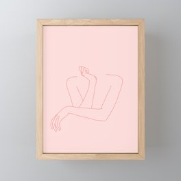 Crossed arms illustration - Anna Pink Framed Mini Art Print