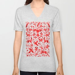 Mexican Otomí Design in Red Unisex V-Neck
