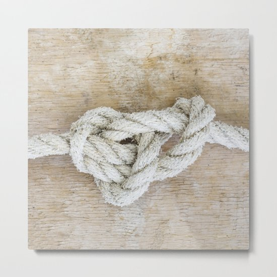 Knot on driftwood Metal Print