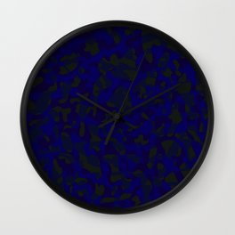 Spotted blue blots on a dark military. Wall Clock