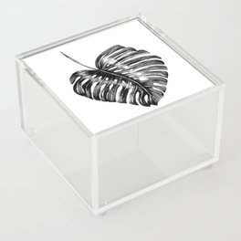 Monstera leaf black watercolor illustration Acrylic Box