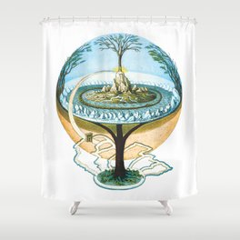 Ancient Norse Cosmology Conception of the Universe Flat Earth Unisex Softstile Flat Earth Shirt Shower Curtain