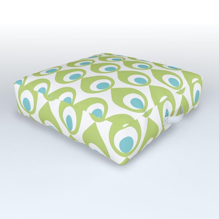 Retro Avocado Lime Green Outdoor Floor Cushion