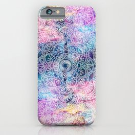 watercolor and nebula flower henna hand drawn design iPhone Case