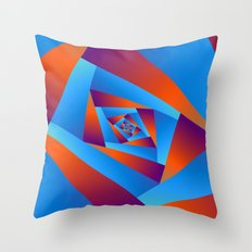 Orange and Blue Spiral Throw Pillow