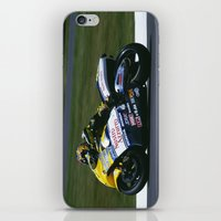 honda iPhone & iPod Skins featuring VALENTINO ROSSI RIDING A HONDA by Don Hooper