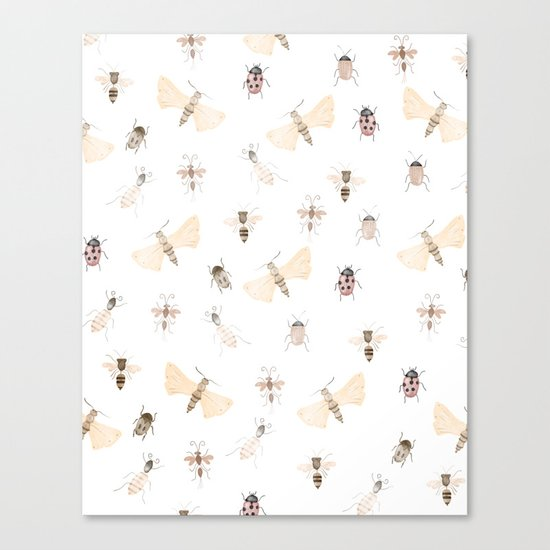 Insects and Bugs Pattern Canvas Print